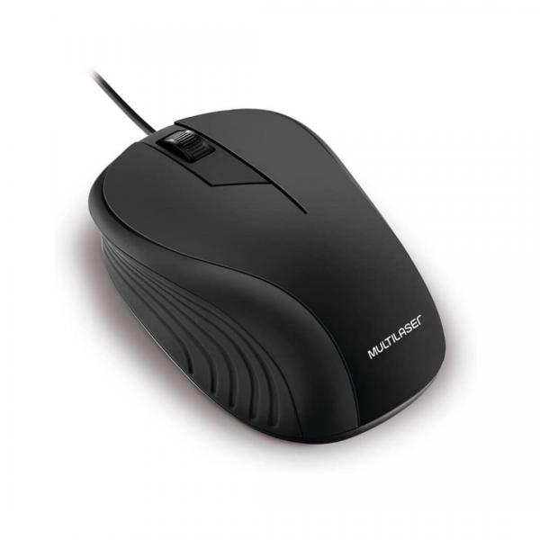 Mouse Multilaser Emborrachado Preto MO222