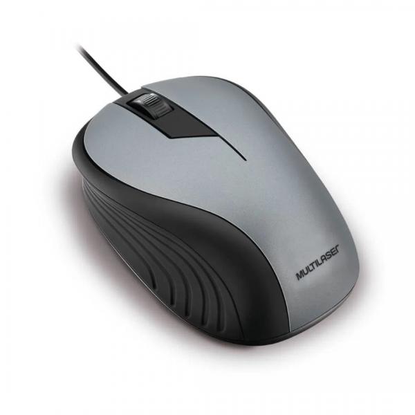 Mouse Multilaser Emborrachado Cinza E Preto Com Fio Usb MO225